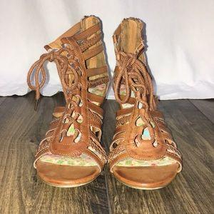 Olsenboye Shoes - LIGHT BROWN LACE UP WEDGES